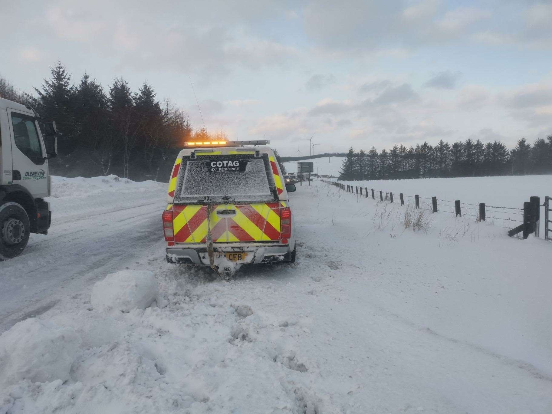 A convoy system is in operation on the A96 at Keith