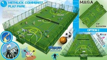 The plans detail that the games area propsed for Methlick could cater for tennis, football and basketball.