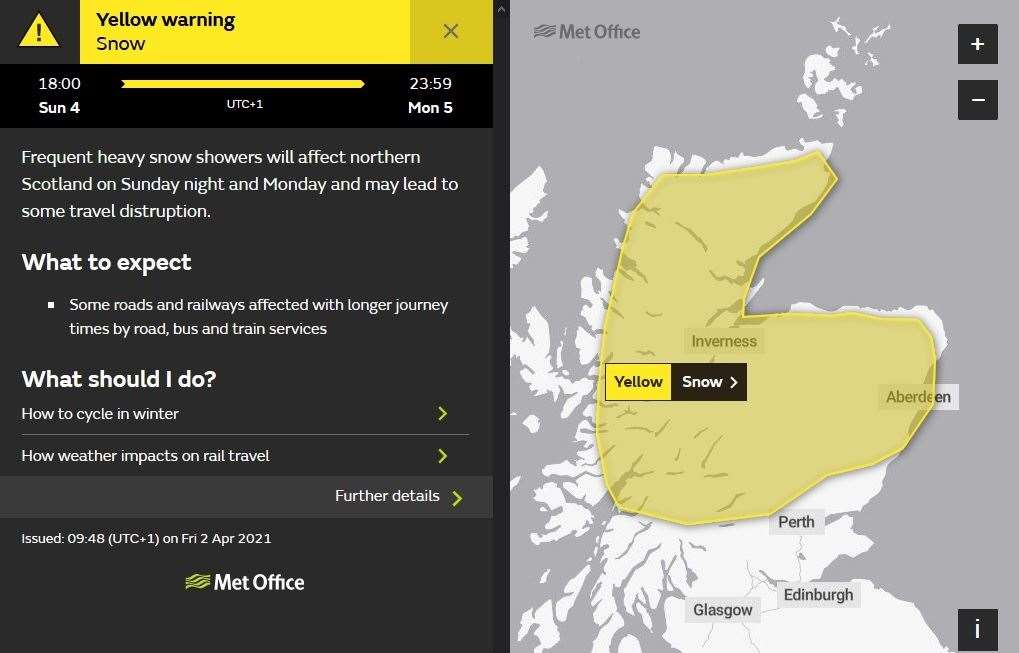 Snow warning for Sunday