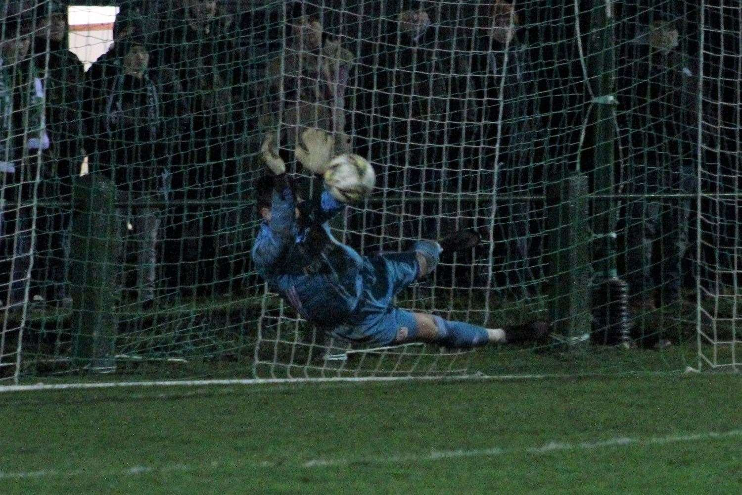 If there's ever a man you need in a penalty shootout, it's United goalie Kevin Main. Picture: Ian Rennie