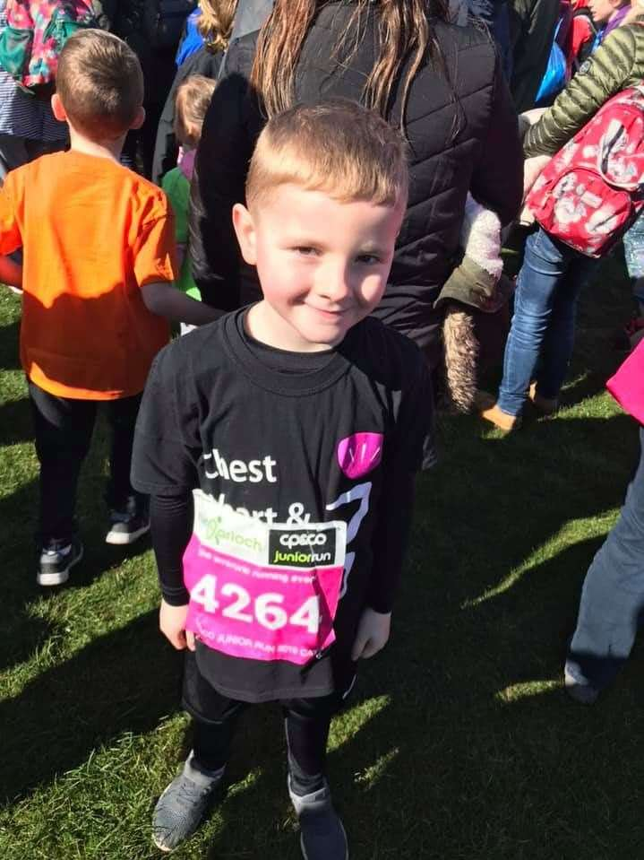 The youngster took on a race at the Run Garioch event.