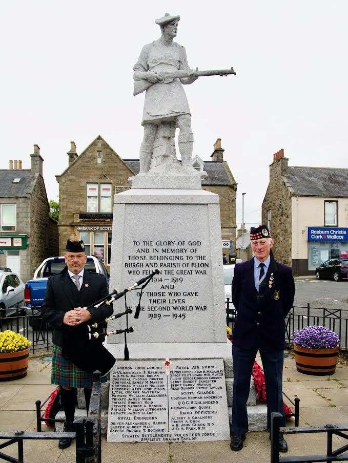 Ellon War Memorial was attended by Mike Annand and Norman Fraser. Picture: Phil Harman