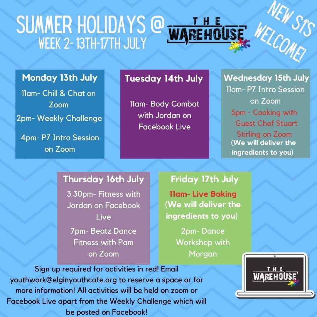 The Warehouse@EYC's virtual summer programme for the week starting July 13.