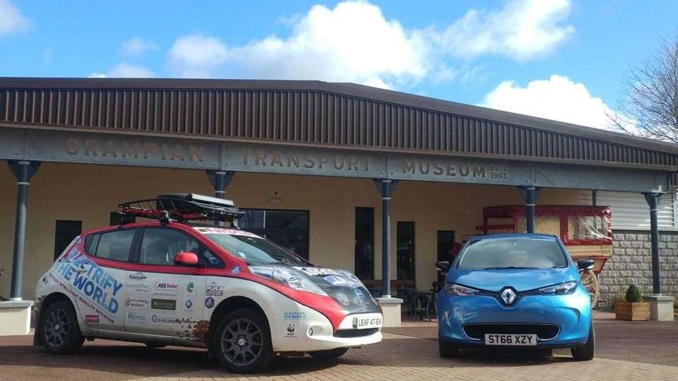 The Nissan Leaf AT-EV and Renault Zoe on display outside Grampian Transport Museum.