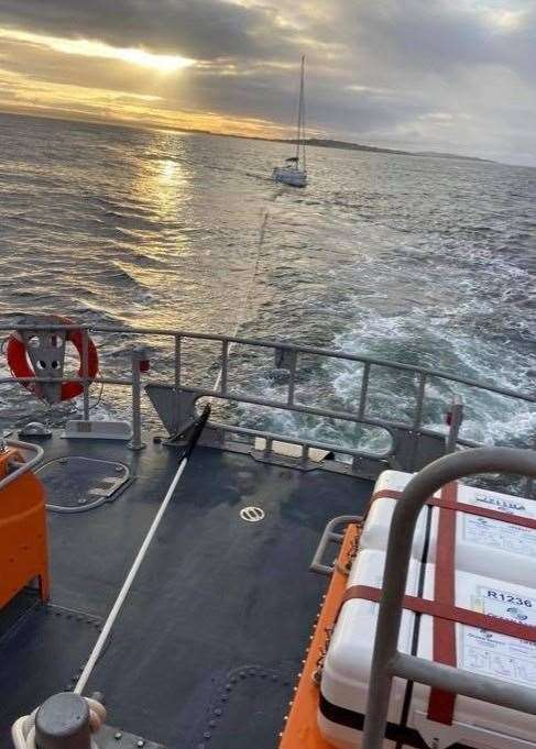 The William Blannin tows the stricken yacht to safety.Picture: Buckie RNLI