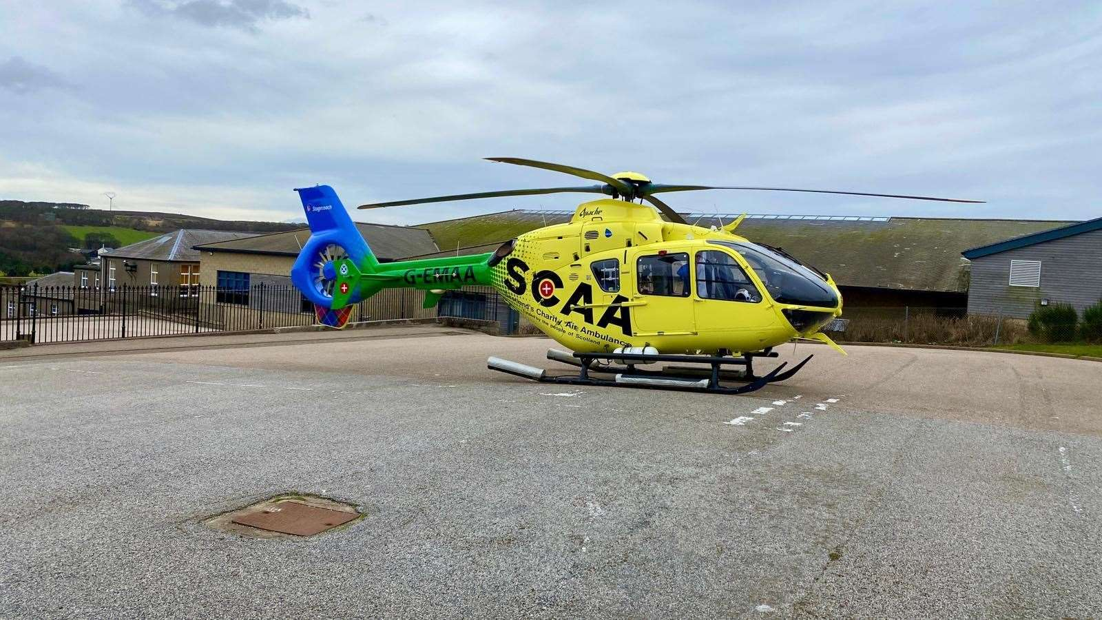 The Scottish Charity Air Ambulance's Helimed 79 landed within the grounds of Banff Primary School around midday on Thursday.