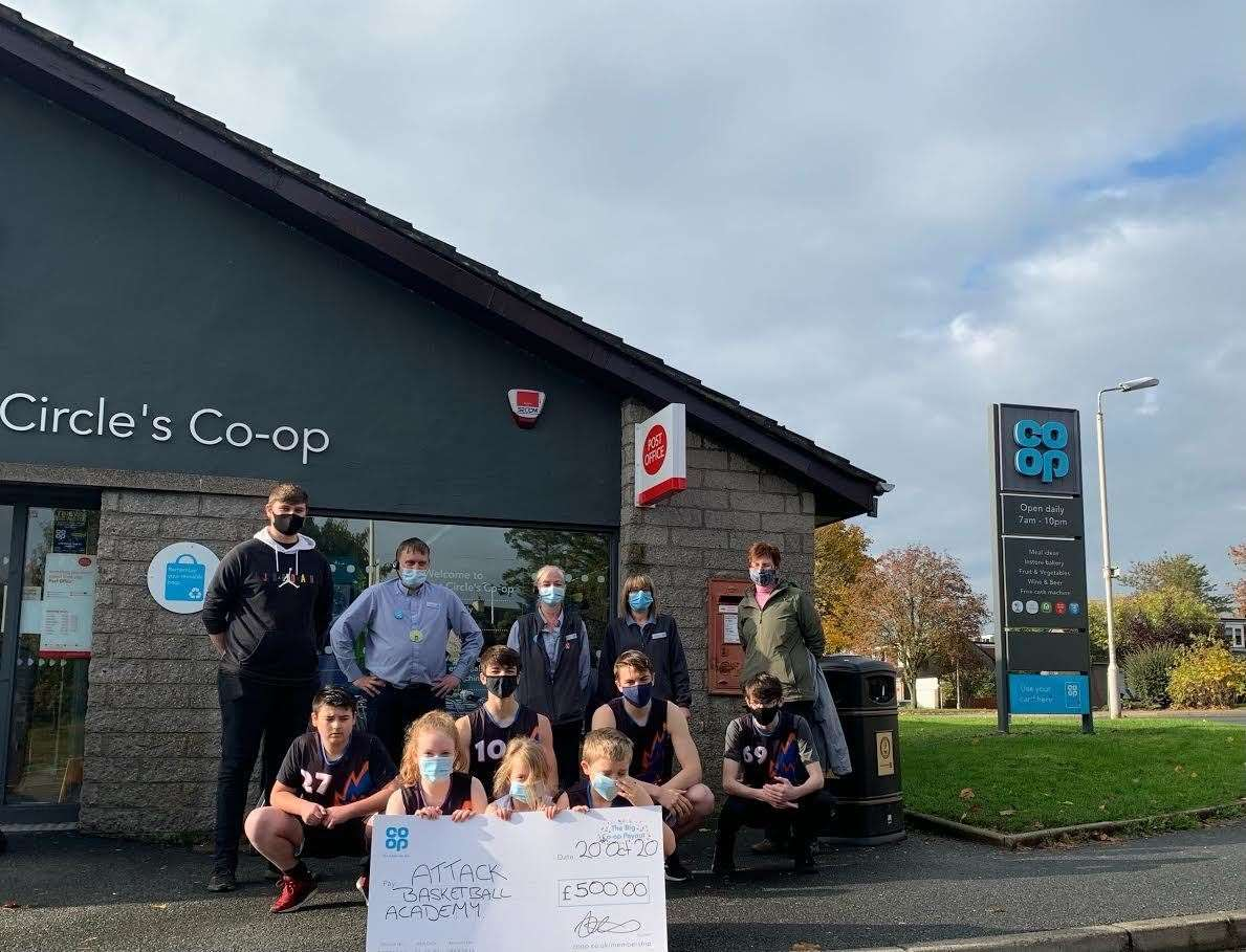 The co-op donated £500 to Attack Basketball Academy.
