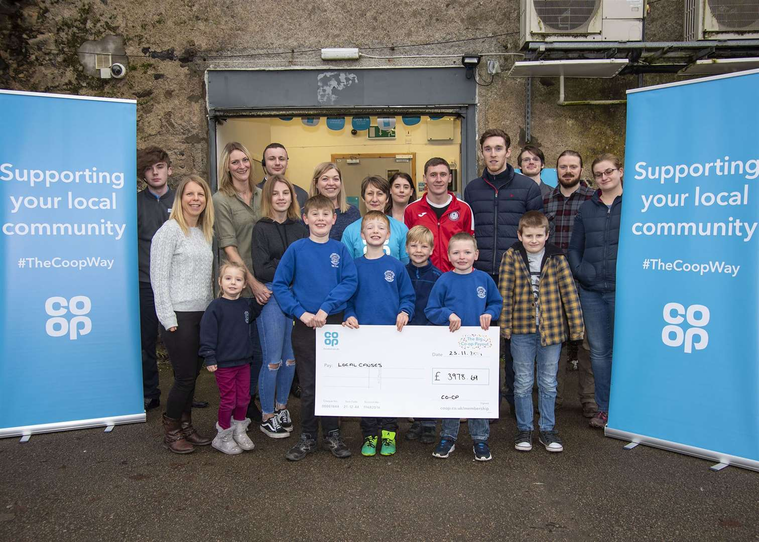 Fyvie community groups receiving their cheques as part of the Co-op Community Fund.Picture: George Murdoch