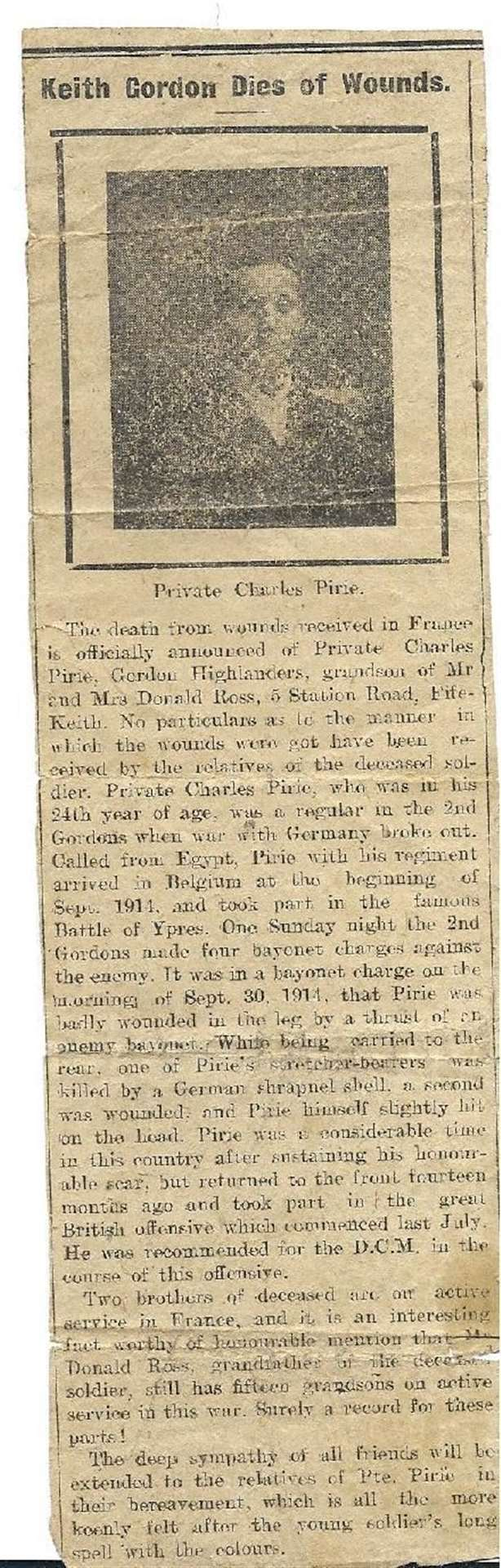 Charlie Pirie from Keith died in 1917. Picture: Caroline Dawson