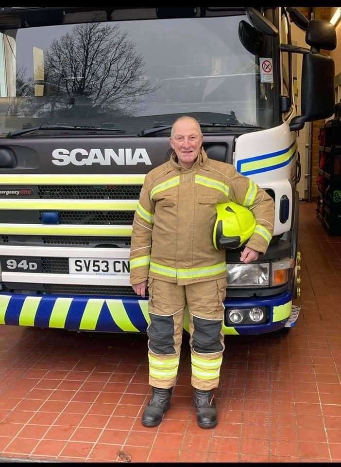 Firefighter Stuart Jenkins calls it a day after almost 50 years as a retained firefighter at Fochabers. Picture: Fochabers fire station