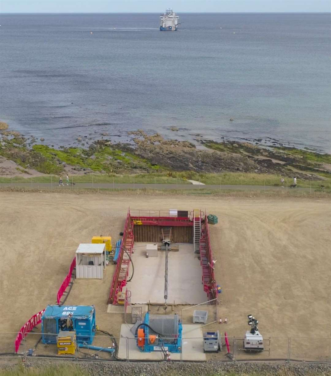 The first offshore export cable from the Moray Offshore Windfarm East project has made land at Inverboyndie.