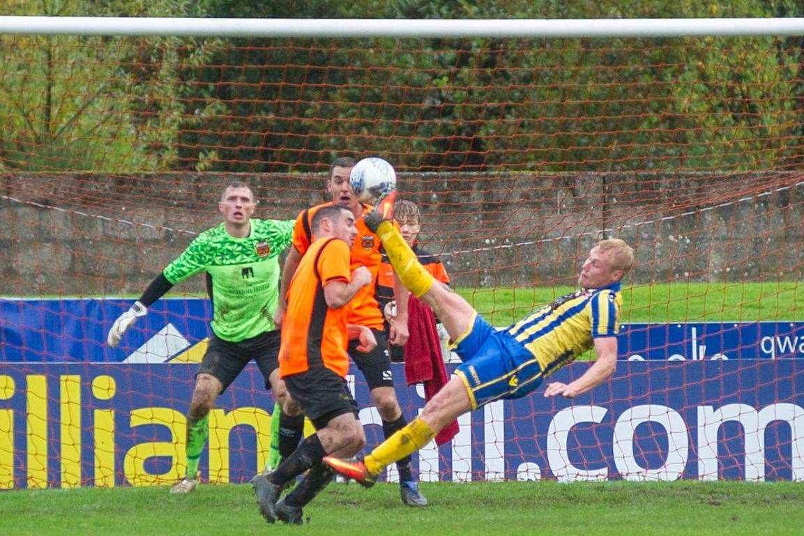 Highland League form striker Chris Angus scores spectacularly at Rothes in Inverurie Locos' 3-1 Scottish Cup win. Picture: Daniel Forsyth..