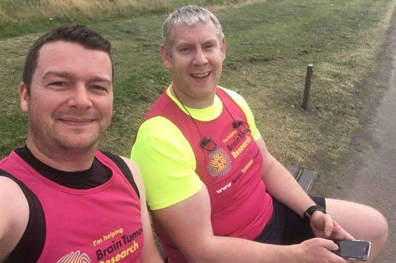 Steve Allan (left) and David Low are running the distance between Aberdeen and Durham.