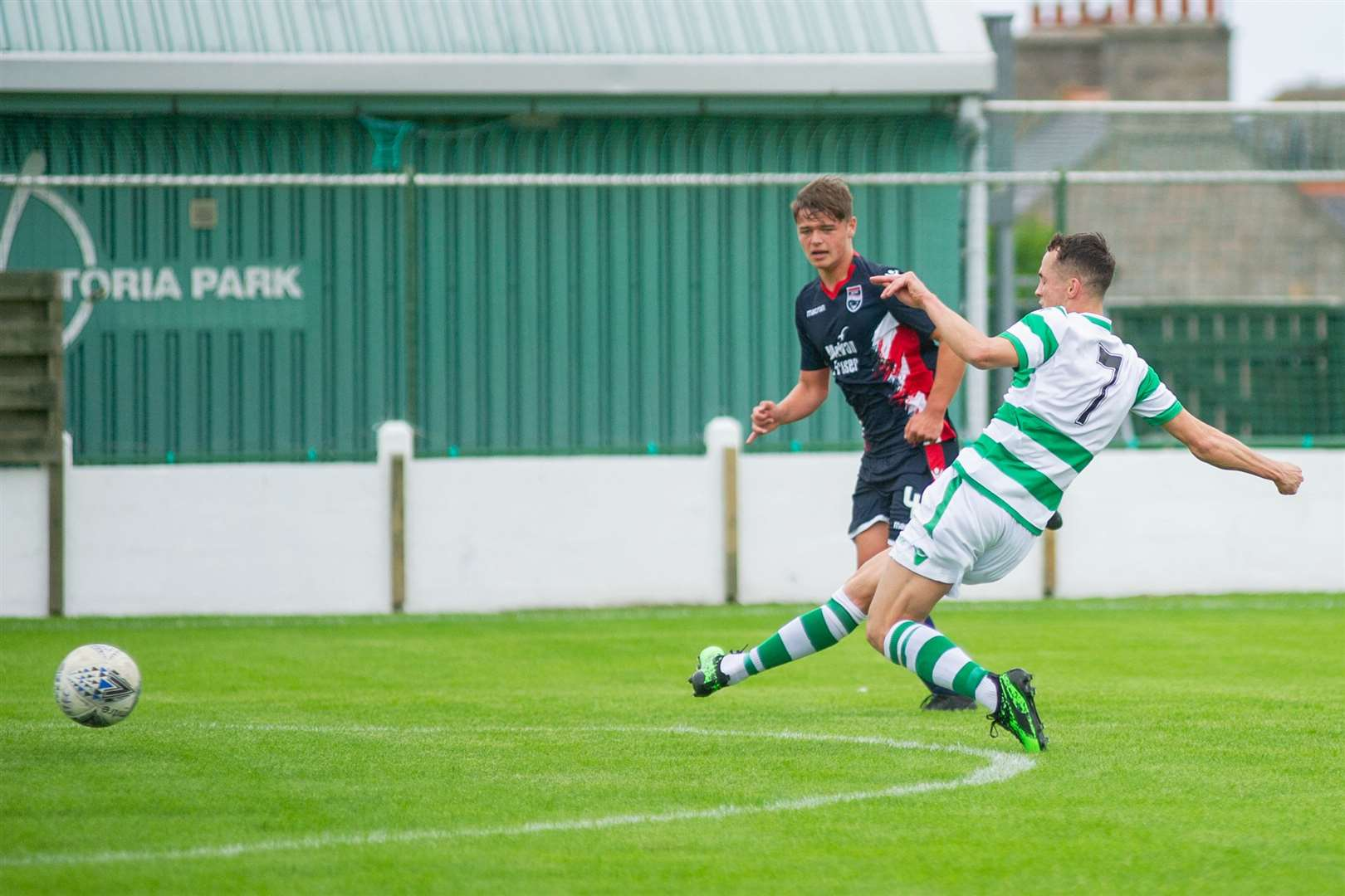Buckie Thistle's Kevin Fraser opens the scoring...Buckie Thistle FC (3) vs Ross County XI (0) at Victoria Park, Buckie. Pre-season friendly 06/07/2019...Picture: Daniel Forsyth. Image No.044378.