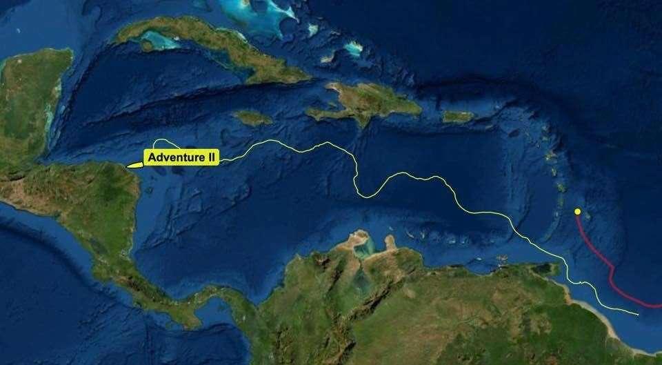 Adventure 2 navegó alrededor de la costa de América del Sur y en el Mar Caribe antes de varar en Honduras.