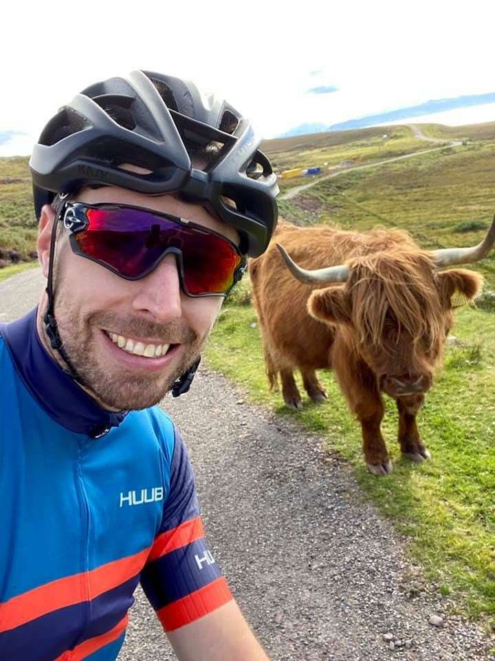 The iconic sight of a Highland Cow on a route brought Sam Milton to a standstill.