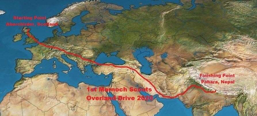 The route that the pair are set to take on their adventure.