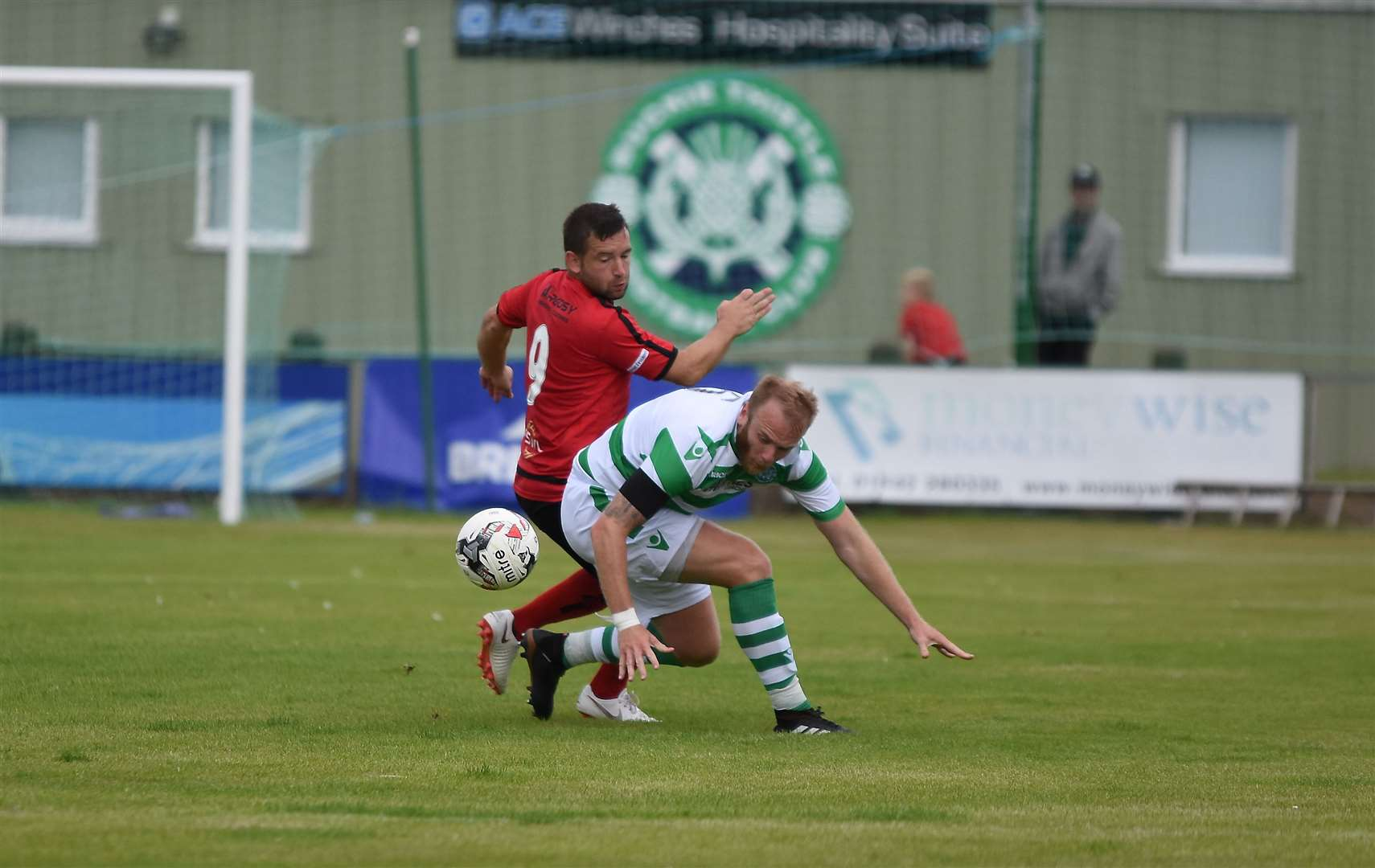 Buckie Thistle player assistant Lewis MacKinnon in action against Locos last season.