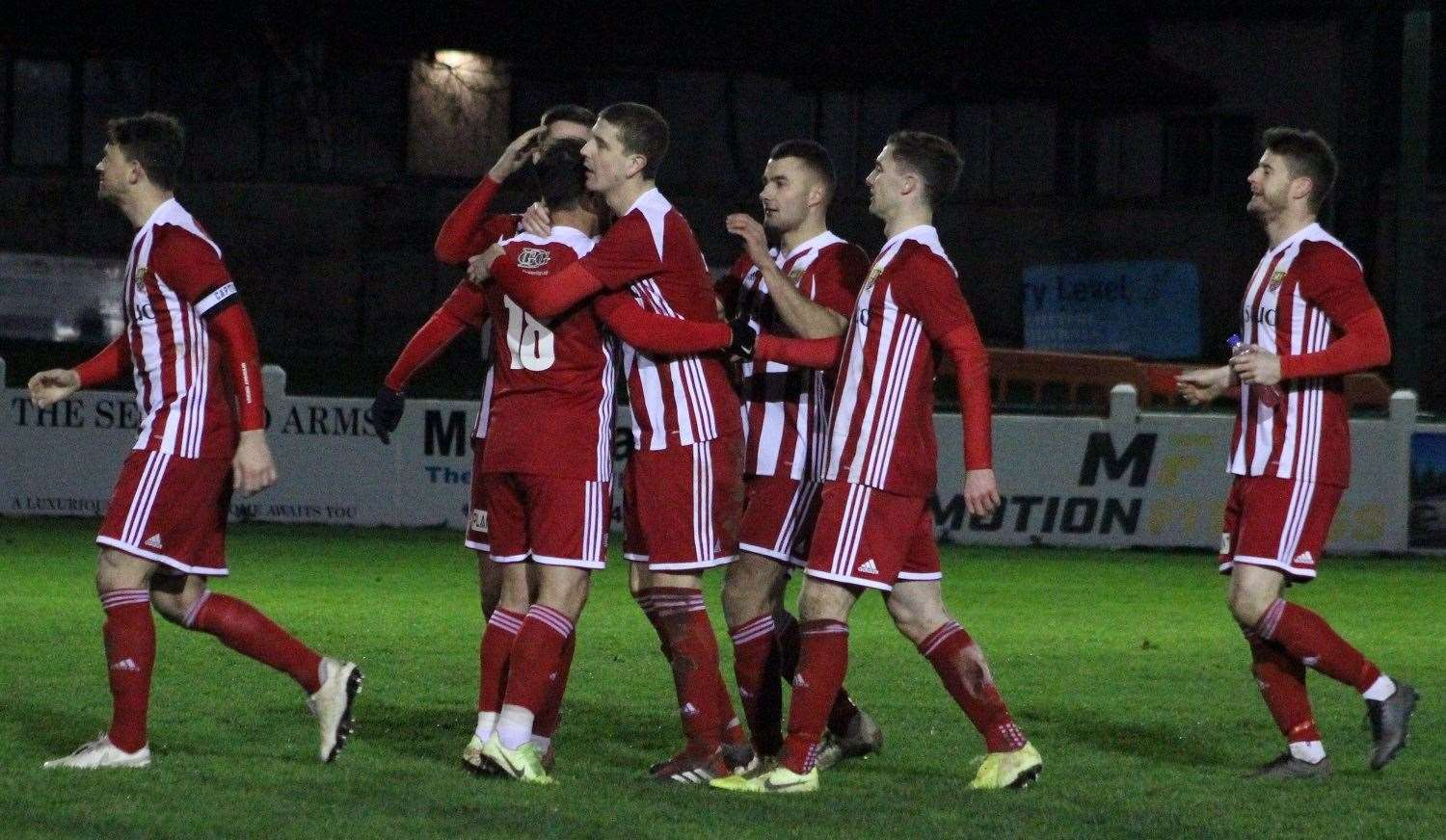 Formartine players celebrate following their shootout win. Picture: Ian Rennie