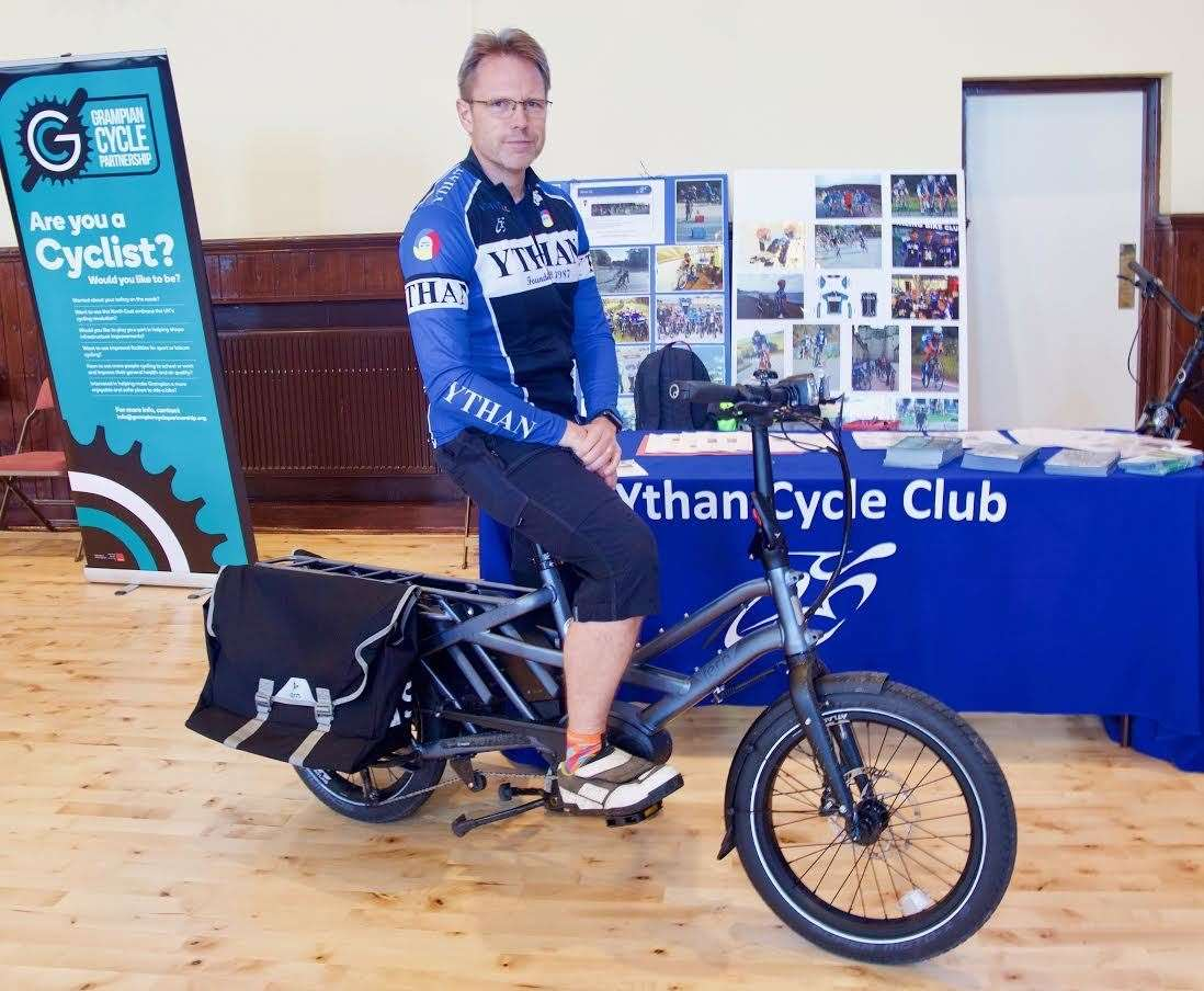 Ythan Cycle Club's Donald Stewart at an event promoting sustainable travel which took place in Ellon just weeks before lockdown. PIcture: Phil Harman